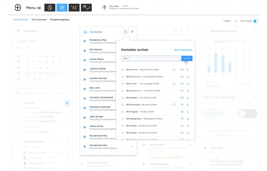 Smart Desk Kontaktverwaltung