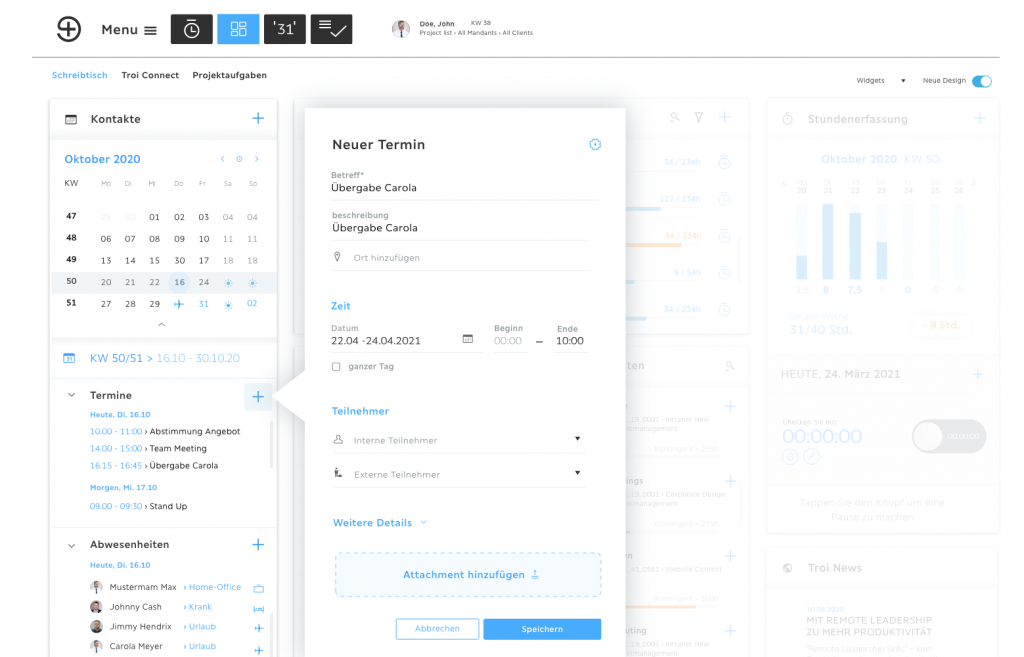 Smart Desk Terminplanung